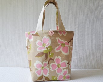 Dogwood Bloom in Pink Project Bag - Large Lunch Bag in Brown Pink and White