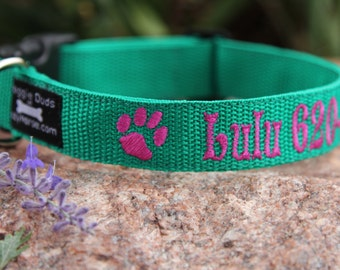 Personalized ID Dog Collar - Embroidered Dog Collar - Identification Collar, lots of different colors to choose from