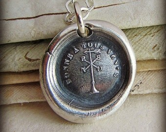 Happy in all Winds Wax Seal Necklace - Weathervane - Antique Wax Seal Jewelry in fine silver - FP435