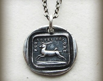 Endure - I Will Go On - antique Italian motto wax seal charm necklace - Inspirational Necklace - endure and move forward - IS265