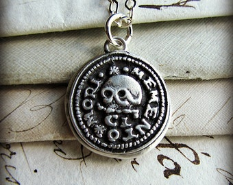 Skull Necklace Wax Seal Pendant - Remember your Mortality - Memento Mori Necklace - Live Life Well - Remembrance Jewelry - L1100
