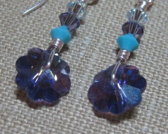 Small Swarovski Pastry Cutter Earrings in Purple & Turquoise - E684