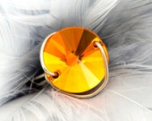 Tangerine Orange Crystal Button Ring Rivoli As Seen at GBK Oscars Celebrity Gift Lounge