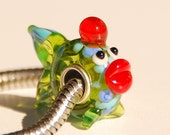 Handmade Green Fish Glass Lampwork Animal Bead fit Europian charm bracelets silver plated
