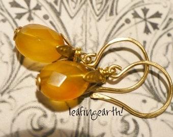 faceted oval GEMSTONE HESSONITE GARNET  brass flower earrings