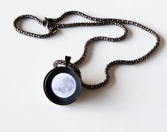 Big Moon Pendant Necklace, Gunmetal Black, Photography, Photo Jewelry