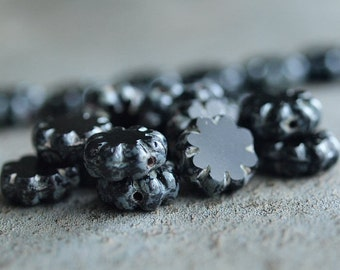 Nightshade Czech Glass Picasso 9mm Flower Beads : 12 pc Black Cactus Flower