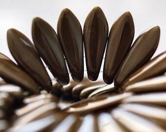 Chocolate Brown Czechmates Dagger 2 Hole Czech Glass 16mm Bead : 50 Beads