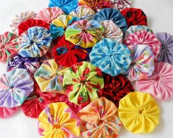 "2"" Fabric Flowers 24 YoYo Headband Birthday Party Rainbow Wedding Favor Hair Clip Bow Bobby Pin Scrapbook Wholesale Handmade"