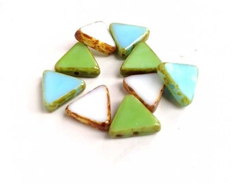 Triangle Beads Czech Picasso Glass White Turquoise Blue and Green