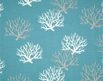 READY TO SHIP coral curtains slub teal curtains beach curtains 52 wide 84 long