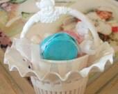 Sale / Vintage / Party Favors / Plastic Nut Cup Baskets / One Dozen / White with Clown Motif Handles