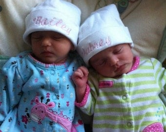 Personalized Embroidered Monogrammed Baby Hats for Twins