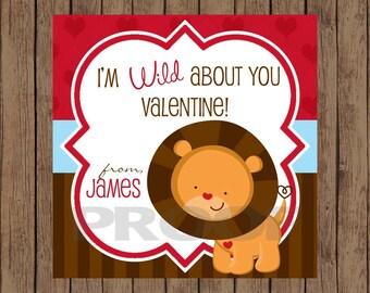 LION Valentine Favor Tags / Lion Favor Tags / Valentine Favor Tags / Wild About You Valentine Tags / Valentine Tags / PRINTABLE / Set of 12