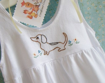 My Little Spotted Wiener - Hand Embroidered Girls Cotton Romper