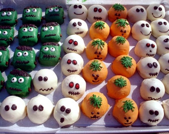 Cake Balls: Halloween Sampler of Bitty Bites. Includes Ghosts, Pumpkins, Skeletons and Frankensteins