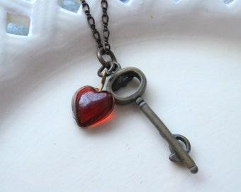 Key Necklace, Heart Necklace, Key to my Heart, Red Heart Necklace, Heart Charm Necklace, Key Charm Necklace, SRAJD