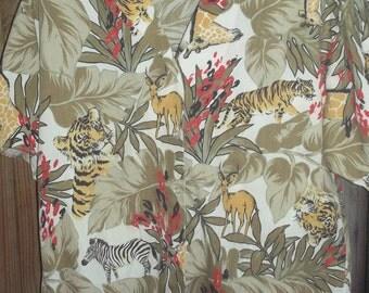 Vint. Safari Shirt, African Safari, Tiger, Zebra, Giraffe, Blouse