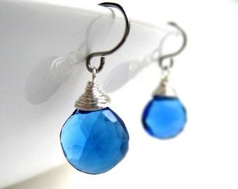 Sapphire Blue Earrings - September birthstone, silver hydroquartz gemstone drop, briolette, bridesmaid earrings