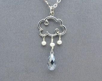 cloud necklace, cloud charm, silver cloud pendant, raindrop necklace, raindrop jewelry, cloud jewelry, weather jewelry, raindrop pendant,