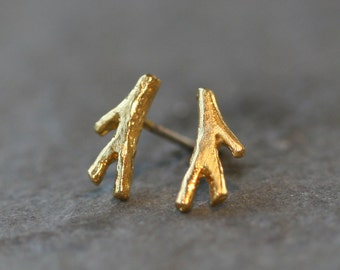 Tiny Branch Stud Earrings in Gold Vermeil