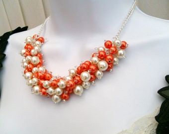 Chunky Pearl Necklace, Orange and Ivory, Bridesmaid Jewelry, Bridal Jewelry, Cluster Necklace, Bridesmaid Gift, Wedding Jewelry, Kim Smith