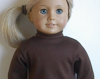 18 Inch Doll Long Sleeve Turtleneck in Brown or Watermelon Pink - Ready to Ship - Fits 18 Inch Dolls
