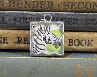 Cute Zebra Pendant - Soldered Glass Charm - Vintage Book Charm - Zebra Charm - Zoo Animal Charm - African Safari Animal Pendant