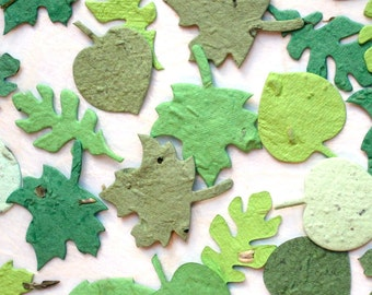 100 Plantable Seed Paper Confetti Leaves - Spring Greens Wedding Favors - Maple Oak Green Leaves - For Place Cards and Seed Envelopes