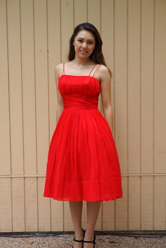 Vintage 1950s lipstick red chiffon dress.