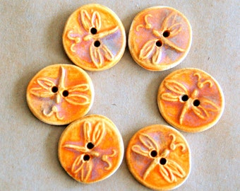 6 Handmade Stoneware Buttons - Small Dragonfly Buttons in Autumn Orange