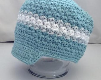 "Crocheted Newsboy Hat  ""The Thomas"" Teal, White, Silver Grey Skater Brimmed Hat Lid Cap"
