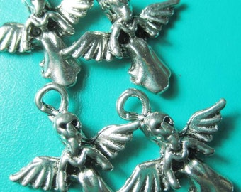 Day of the dead angel charms x 4 destash silver GOTH