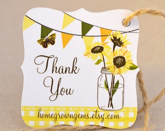 Sunflower Thank You Tags Gift Wedding Yellow Bunting Packaging | DS0044