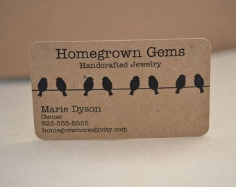 Birds on Wire Recycled Business Cards Modern Calling Cards