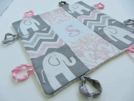 Personalized Baby Girl Lovey with Custom Hand Embroidery Name or Initial ~Choice of Backing Fabric ~Pink Grey White~Elephant Damask Chevron