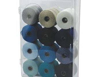 12 Spool Super-Lon Bead Cord WINTER Mix - 77 yards ea  420405