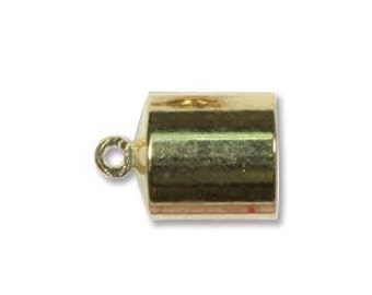 12 - 8mm Gold Plate Barrel End Cap Kumihimo 38287