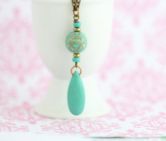 Boho Necklace - Bohemian - Turquoise Pendant Necklace - Ornate Necklace - Vintage Beads - Turquoise Jewelry - Drop Pendant - Girlfriend Gift