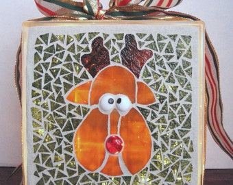 Rudy Reindeer Mosaic Lighted Glass Block, Christmas Decor, Child's Christmas, Rudolph the red nosed reindeer