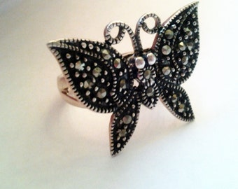 Sterling and Marcasite Large Butterfly cocktail Ring Glamorous Shiny silver 925 Holiday party