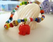 Friendship Bracelet- hippie African multicolored Stretch beaded bracelet-red Lucky Elephant charm bracelet/boho,bohemian,global,folk,gift