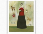MILAGROS Mexican charms figure frida kahlo influence 8x10 giclee signed art print