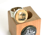 Airstream Trailer Jewelry, Camping Ring, Travel Ring, Road Trip Jewelry, Hammered Silver Ring, Wine Cork Ring by Uncorked