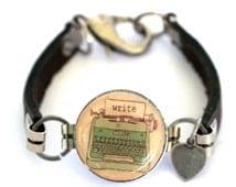 Typewriter Bracelet - Typewriter Jewelry - Wine Cork Jewelry - Writer Bracelet - Leather Bracelet - Blogger Jewelry - Recycled - Uncorked