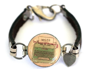 Typewriter Bracelet - Typewriter Jewelry - Wine Cork Jewelry - Writer Bracelet - Leather Bracelet - Blogger Jewelry - Recycled - Uncorked