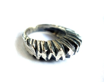 Heavy Sterling Silver Carved Tutu Ring