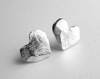 Hand Carved Textured Sterling Silver Heart Studs