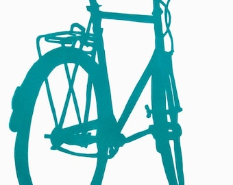 Bicycle Art - Blue Green Crescent Bike Print