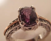 Intense Violet Purple Spinel Sterling and 14 kt Rose Gold ring .Victorian Antique Style  . size 7  size N 1/2 for my UK friends . e635